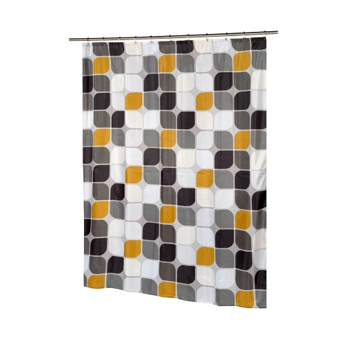 Carnation Home Fashions Metro Extra Long Polyester Fabric Shower Curtain 70 Wide X 84