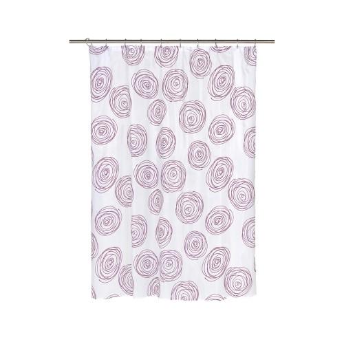 Carnation Home Fashions Lucerne Fabric Shower Curtain With Poly Taffeta Flocking