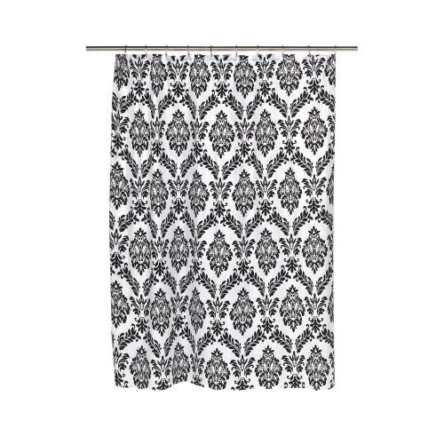 Carnation Home Fashions Regal Fabric Shower Curtain With Poly Taffeta Flocking