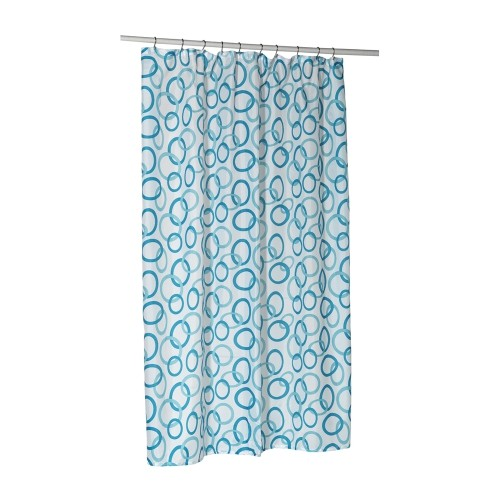 American Crafts Circles Blue Stall Size Polyester Fabric Shower Curtain