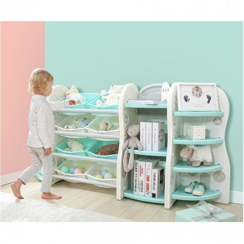 Toy Storage Organizer For Kids Collection Deluxe Plastic Bookshelf With 8 Bins Blue Nursery Dressers Bookcase