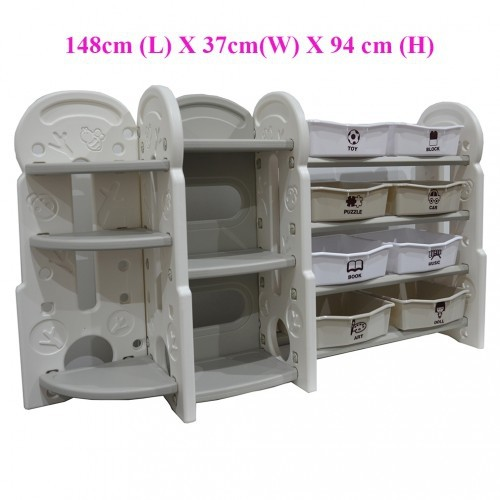 Toy Storage Organizer For Kids Collection Deluxe Plastic Bookshelf With 8 Bins White Nursery Dressers Bookcase