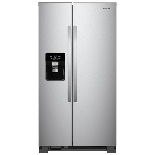 Réfrigérateur congél. juxtaposé 33 po 21,4 pi³ et distrib. eau/glaçons Whirlpool - Inox