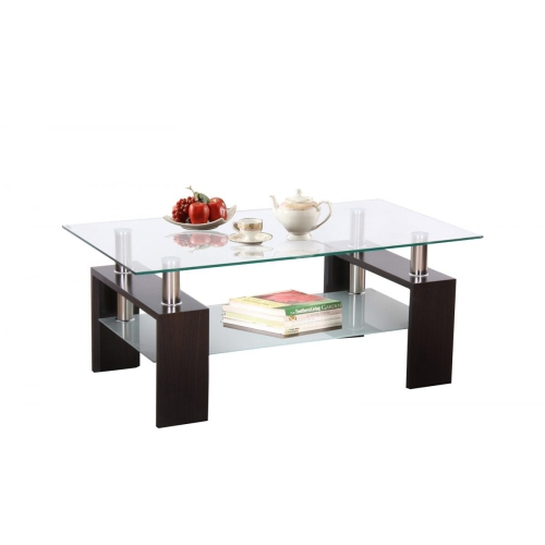 Contemporary Glass Rectangle Coffee Table: Floating Glass Rectangular Modern Coffee Table With Glass