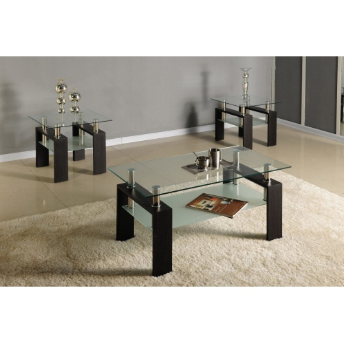 pretty nice 8d0f1 b187f Floating Glass Rectangular Modern Coffee Table with Glass Shelf, Matching  End Tables- Set 2 End Tables, Coffee Table