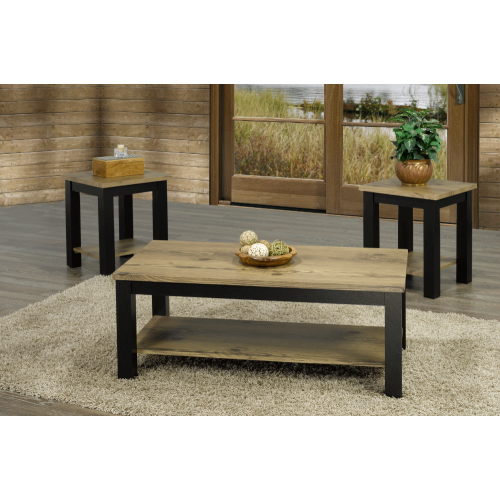 Distressed Oak Finish Espresso Wood Legs Traditional Coffee Table