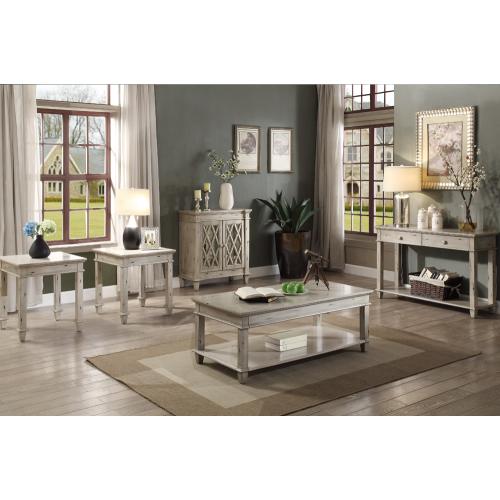 Table de salon classique en bois vieilli lavé vieilli avec 2 tiroirs ...