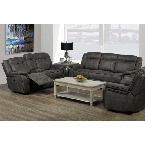 Grey Air Suede Power Recliner Contemporary Chair : Living