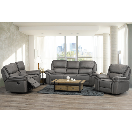 Smoke Grey Padded Micro Suede Upholstered Contemporary