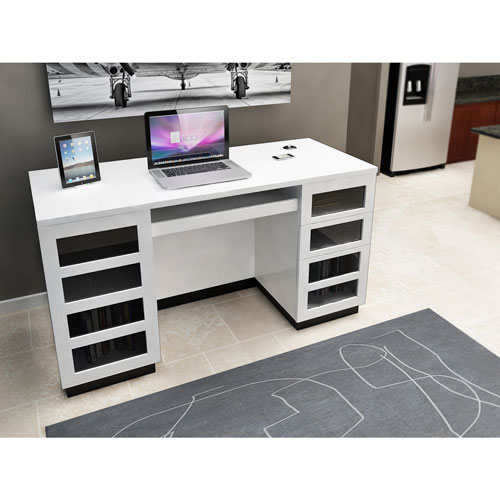 Morvan Contemporary Desk With Keyboard Tray White Desks