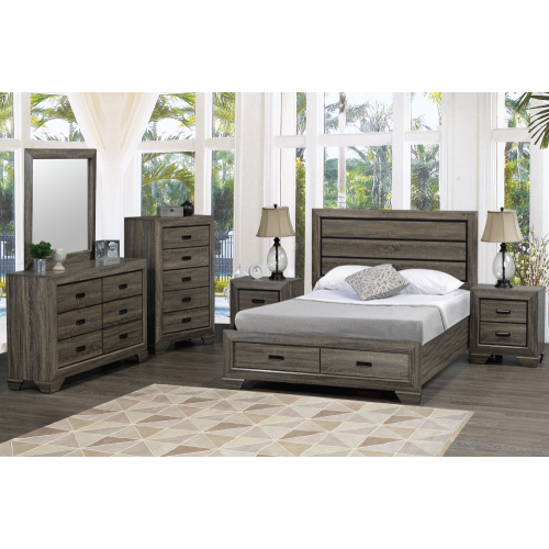 Jenna Distressed Grey Wood Finish Contemporary Bedroom Dresser and Mirror  with 6 Drawers