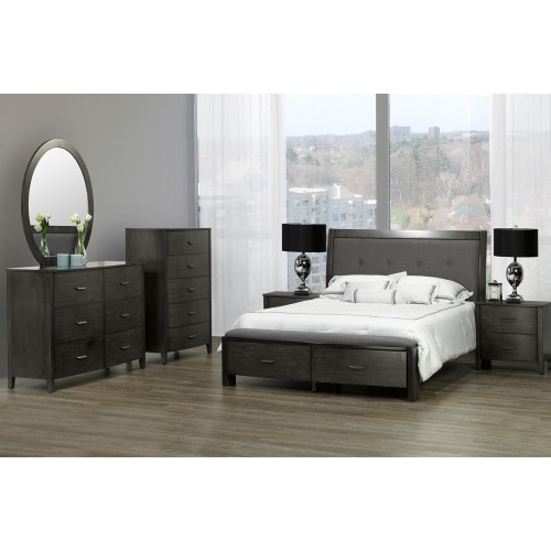 Cameron Dark Grey Wood Finish Contemporary Bedroom Chest With 5