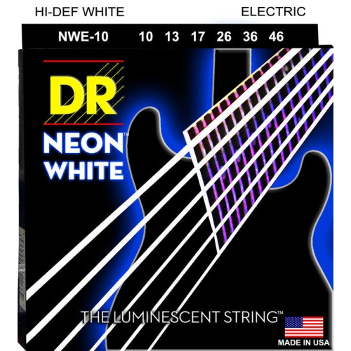 DR Strings NWE-10 DR Neon Electric Guitar Strings, Medium, White, 10-46