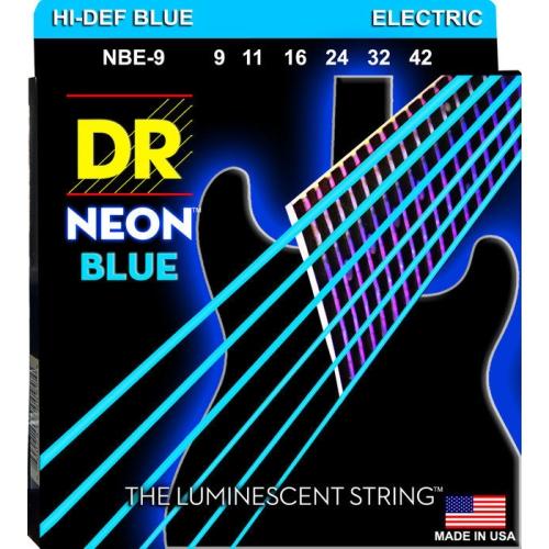 DR Strings NBE-9 Hi-Def NEON Blue Coated Light, Electric Guitar Strings, 9-42