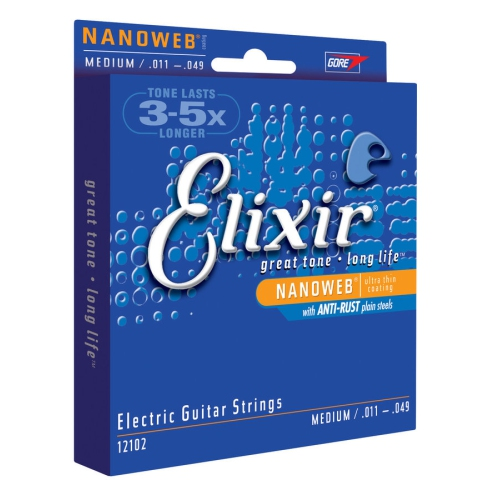Elixir Strings Electric Guitar Strings, 6-String, Medium NANOWEB Coating 12102