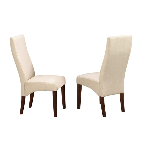 Strange Walnut Finish Wood With Beige Linen Style Fabric Contemporary Parson Dining Chairs 2 Box Ncnpc Chair Design For Home Ncnpcorg