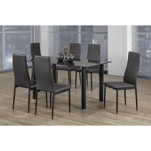 Modern 7 Piece Dining Set Black Tempered Glass Table With Black
