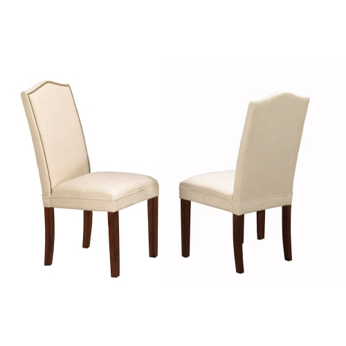 Superb Walnut Finish Wood With Beige Linen Style Fabric Contemporary Parson Dining Chairs Nailhead Trim 2 Box Ncnpc Chair Design For Home Ncnpcorg