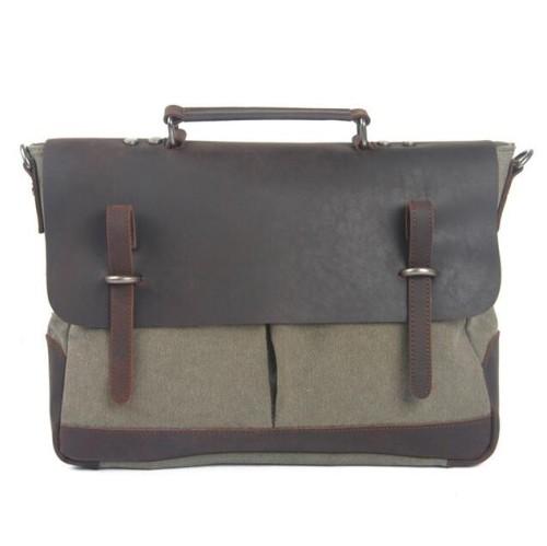 Canvas double pocket messenger bag green 22798314f310b