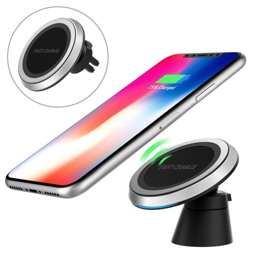 MoKo Magnetic Fast Qi Wireless Car Charger, 360 Degree Rotation Air