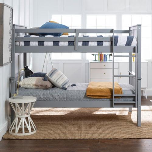 Winmoor Home Rustic Country Kids Bunk Bed - Twin - Grey
