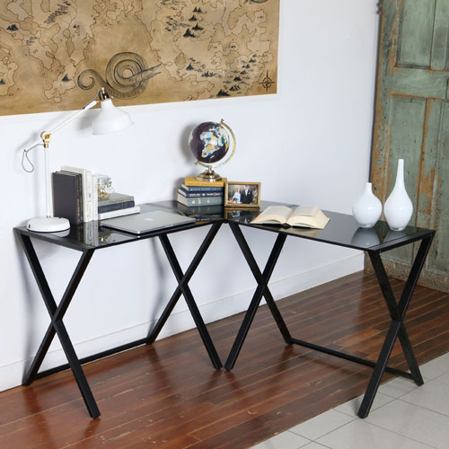 Winmoor Home X-Leg Corner Gaming Desk with Glass Top - Black