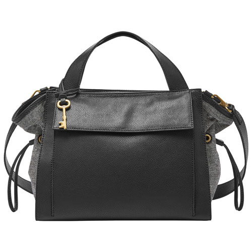 f8d01ce445f3 Final Clearance Fossil Mason Leather Satchel Bag – Black – Online Only