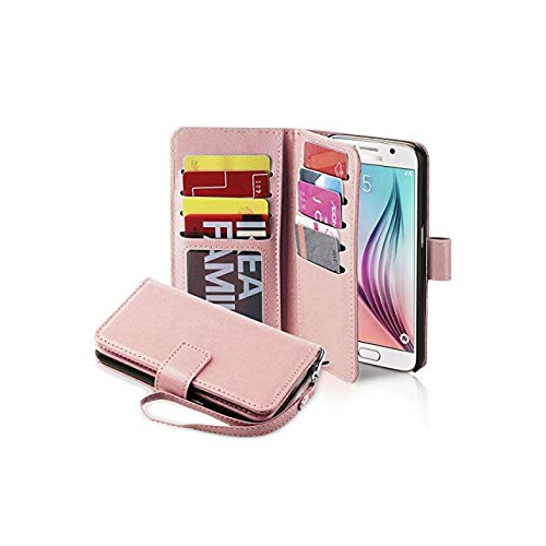 the latest d466c c6f5c Galaxy S6 Case, Jwest Premium Leather Folio S6 Wallet Case Wristlet Lanyard  Hand Strap Purse Flip Book Style Multiple Card Slo