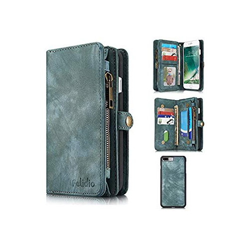 Felidio Iphone 7 Plus Wallet Case Retro Leather Case Purse For Iphone 7 Plus With Zipper Pockets Card Holder Magnetic Flip Ca Best Buy Canada
