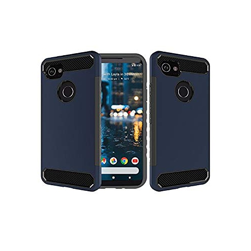 best website 968c9 6ec23 Google Pixel 2 XL Case, Dailylux [Carbon Fiber] Slim Fit Heavy Duty Dual  Layer Anti-Scratches Protective Hybrid Armor Defender