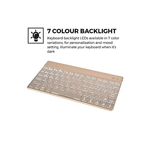 iPad Air 2 keyboard case, COOPER AURORA FOLIO 7 Backlight Color Bluetooth  Wireless Rechargeable Detachable Backlit Keyboard Ca