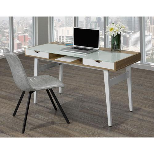 bureau d 39 ordinateur avec surface en verre et chargeur sans fil power x d 39 iqdesk blanc ch ne. Black Bedroom Furniture Sets. Home Design Ideas