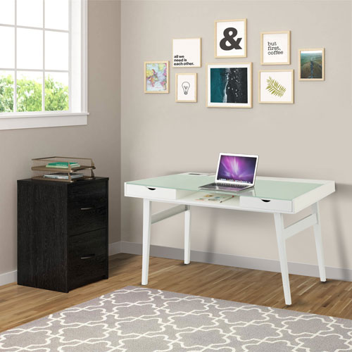 Iqdesk Power X Computer Desk With Glass Top And Wireless Charging