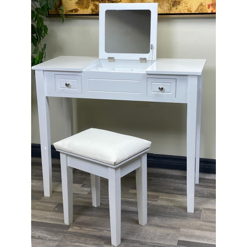 ViscoLogic Makeup Vanity Table Set with Leatherette Upholstered Stool - Flat Top White | Best Buy Canada
