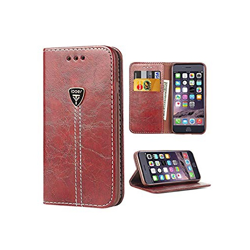 super popular 3c512 9f31c iPhone 6 Plus Wallet Case, Ultra Slim Stand Flip Wallet Case with Built-in  Card Slots Shock Absorbent Dust Proof Case Brown