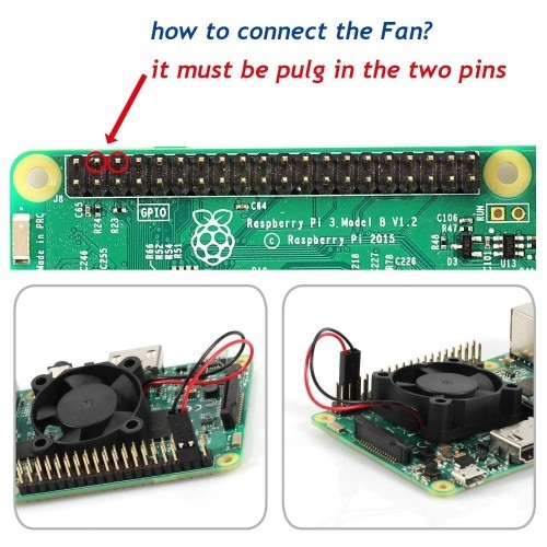Enokay DC 5V 0 2A 30mm×30mm×10mm Cooling Fan for Raspberry Pi 2/Pi 3 Case