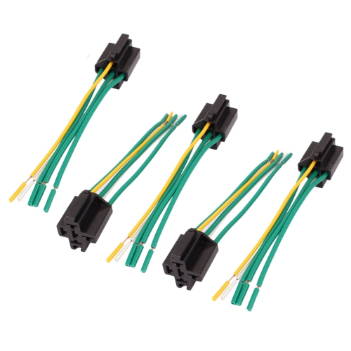 DC 12V24V 40A 5Pin Relay Socket Harness Connector 5pcs for Car