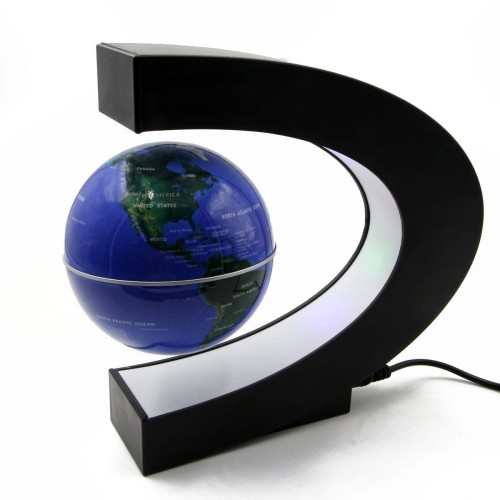riorand 3 c shape magnetic levitation floating globe rotating world map with colored led light anti gravity globe for childr online only