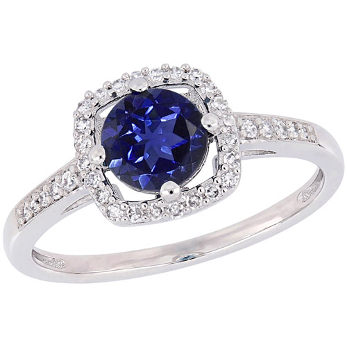 Halo Ring in White Gold with Created Blue Round Sapphire & 0.144ctw Blue/White Diamonds - Size 6