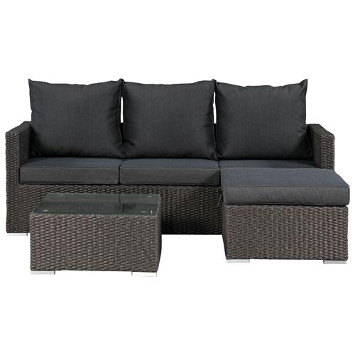 Evan 3 Piece Wicker Deep Seating Patio Conversation Set Dark Grey