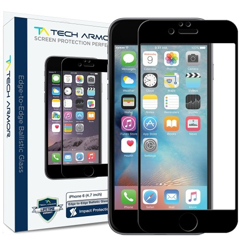 buy online 2d076 2dc14 iPhone 6 Glass Screen Protector, Tech Armor Edge to Edge Glass (.2mm) Apple  iPhone 6S / iPhone 6 (4.7-inch) Screen Protector (