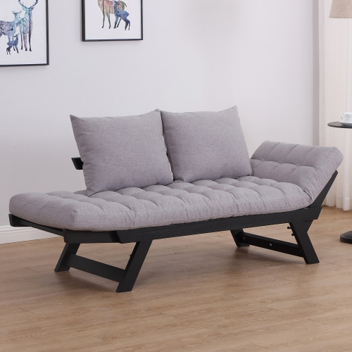 Brilliant Homcom Convertible Sofa Bed Futon Loveseat With Pillow Grey Andrewgaddart Wooden Chair Designs For Living Room Andrewgaddartcom