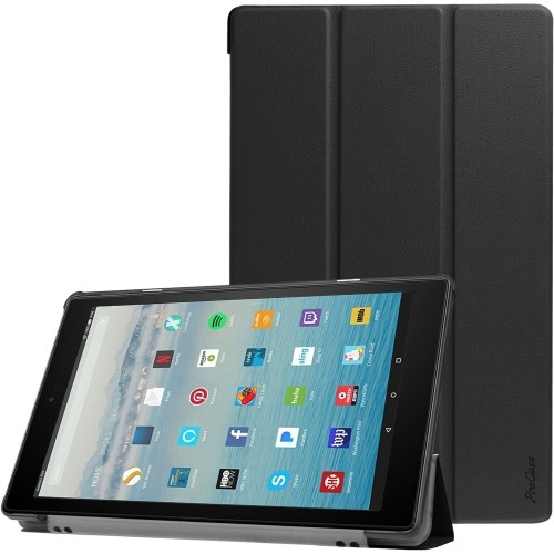 EasyAcc Case for Fire HD 10 2019//2017 Ultra Slim with Stand Function and Auto Sleep//Wake Up Function PU Leather Case for Fire HD 10 Black 7th and 9th Generations, 2017 and 2019 Releases
