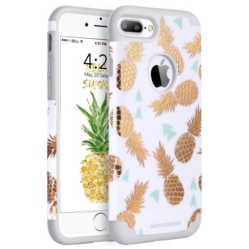 timeless design e88e7 bb2bd iPhone 8 Plus Case, iPhone 7 Plus Case, BENTOBEN Shiny Golden Pineapple  Pattern Design Hybrid Hard PC Back Soft Silicone Rubbe