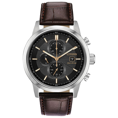 03cde3820df8d6 Citizen Strap Eco-Drive 43mm Men's Solar Powered Chronograph Casual Watch -  Brown/Grey/Silver - Only at Best Buy | Best Buy Canada