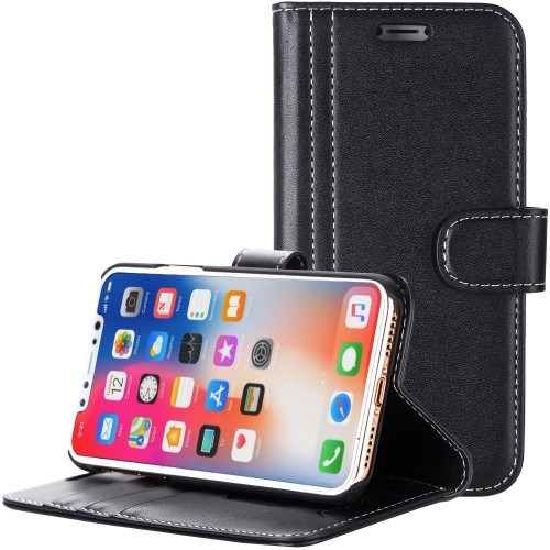 buy popular bee46 5caea Apple iPhone X Case / iPhone 10 Case, ProCase Folio Folding Wallet Case  with Flip Cover and Stand, Credit Card Slots and Kicks