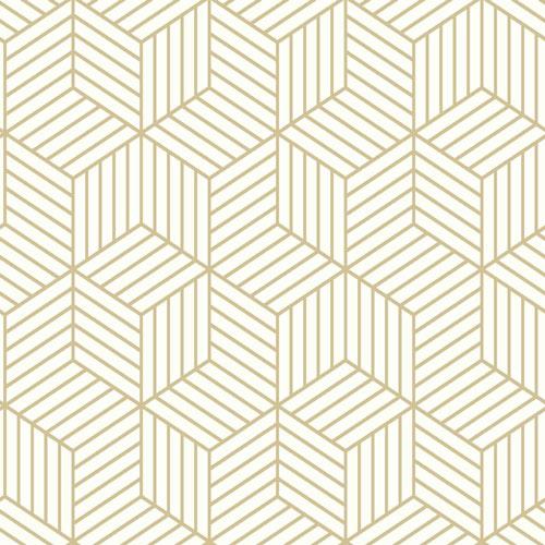 Roommates Stripped Hexagon Peel Stick Wallpaper Whitegold