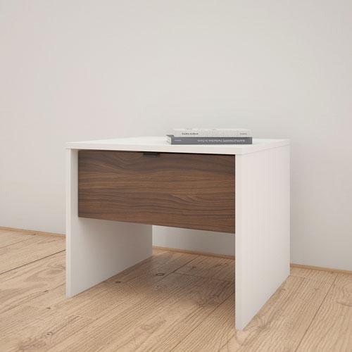 Table de chevet contemporaine à 1 tiroir de Nexera - Blanc - Noyer