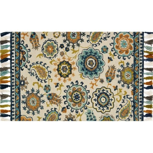 Local Stabilizers Rug.Loloi Farrah Hooked Wool 7 9 X 9 9 Runner Area Rug Ivory Blue