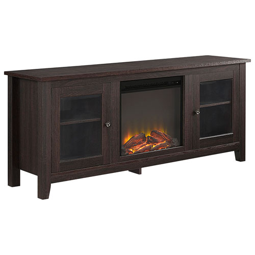 """Winmoor Home Traditional 60"""" 2-Cabinet Fireplace TV Stand - Espresso"""